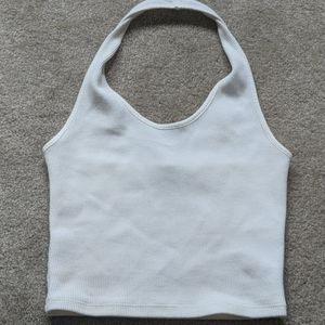 White halter crop top